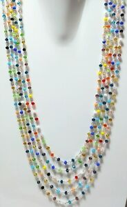 """16-20"""" Necklace Multi Stone Hydro Rondelle 3-4mm 24k Silver Plated Wire J5s"""