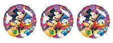 3 Disney Donald Duck, Pluto, Mickey Mouse Mylar Balloons