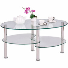 Clear Glass Oval Side Coffee Table Shelf Chrome Base Living Room Furniture