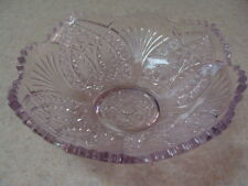 Vintage Glass Bowl Light Purple Lilac, Fruits Salad Bowl. Saw Tooth Edge