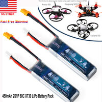 2S Lipo Battery 450mAh 7.4V 80C w/ XT30 Plug for FPV Racing Drone Quadcopter US