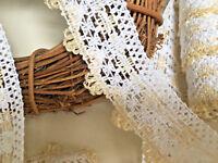 "Vintage Style 2""/5cm White and Lemon Cotton Crochet Lace Trim.Sewing/Crafts"