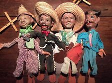 4 Vintage Marionette String Puppets - Guitar Sombreros Mexican - Folk Art -As Is