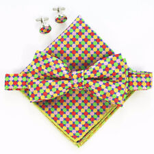 (B20) Dual Layer Multicolor Men Boy Bowtie Set Bow Tie With Cufflinks Hankie
