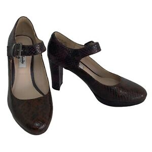CLARKS Kendra Gaby Mary Jane Pump Snakeskin High Heel Size 4 UK Wide Fit