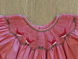 Christmas Holiday Smocked Toddler Bishop Dress~ Red Embroidered Birds~ Size 2