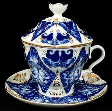 LOMONOSOV - Tasse KAKAOTASSE Kakaogedeck Gedeck - GLÜCKSVOGEL - Kobalt-Blau Gold