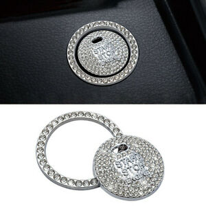 Bling Silver Diamond Car Engine Ignition Start Button Decor Ring Crystal Sticker