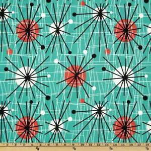 Michael Miller Mid-Century Modern Atomic Turquoise Fabric Cotton Retro! 50's