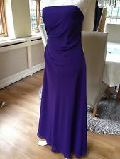 DESSY COLLECTION PURPLE LONG BALL GOWN PROM BANDEAU EVENING DRESS 10 38 NEW
