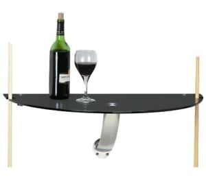 Wall Mount Glass Pub Table with pool cue notches Half Round BRM-225