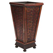 "Designer Bamboo Weave Burgundy Wood 17.5 x 9"" Decorative Planter Square Pot Vase"