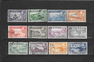 ETIOPIA 12 VALORI usati   1947/1953  lot lotto