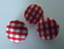 5 BOUTONS Rouge et Blanc * 14 mm  1,4 cm pied couvert tissu vichy button red