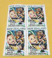 NEW ZEALAND. 1996. TEDDY BEAR ERROR. 40c. BLOCK OF FOUR. REPRO.