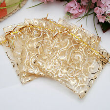 100pcs 3.5''x4'' Jewelry Candy Organza Pouch Bags Wedding Party Favor Gift