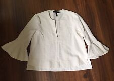 BCBGMaxAzria- Solid Off-white 3/4 Bell Sleeve Textured Knit Top- Size S Org $158