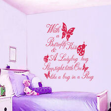 Butterfly Kiss Ladybug Hug Word Wall Stickers DIY Vinyl Decals Baby Room Decor
