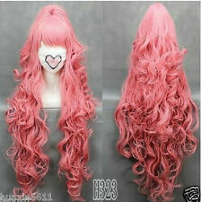 100cmVOCALOI D-Megurine Luka PINK Anime Cosplay wig+1Clip On Ponytail+gift