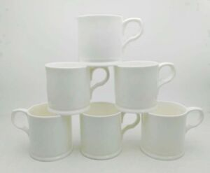 CHINA MUGS, CUPS , TANKARDS  SET OF 6 TANKARDS WHITE  POSTAGE FREE