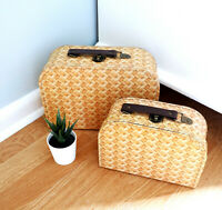 Sass and Belle Decorative Rattan Print Suitcase Small Storage Room Xmas Kids