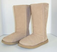 Tan Brown Leather Suede Boots 6 Faux Shearling Mid Calf Melrose Ave Tally