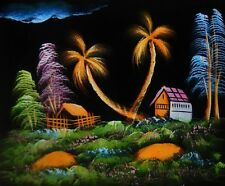 "Painting On Velvet Cloth Beautiful Lonely Huts 19""X16"" Best Price free shipping"