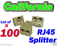 Lot 100 RJ45 Network Splitter Cable Extender 8P8C Plug Coupler Adapter Y 3 Way T