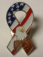 USA FLAG & EAGLE MILITARY RIBBON LAPEL PIN HAT TAC NEW