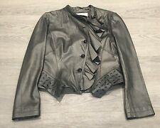 Stunning KAREN MILLEN Silver Grey Ruffle Real Leather Biker Jacket Small 8 10