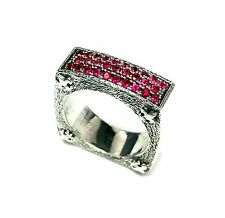Designer Wedding Band In Silver With Rubies By Sacred Angels