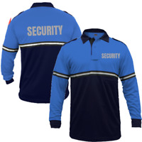 Reflective SECURITY Two-Tone Long Sleeve Bike Patrol Polo Shirt