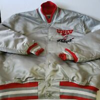 Vintage 1990's UNLV Running Rebels Silver Starter Jacket Original Script L USA