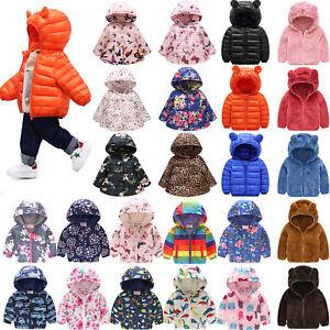Toddler Children Baby Kids Warm Boys Girls Hooded Coats Jacket Outerwear Top