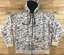 Sesame Street Hoodie Sweatshirt Jacket Mens 3XL All Over Print Full Zip Rare