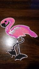 Xl Patch Flamingo rosa mit Pailletten Vogel Glitzer Bügelbild DIY Applikation