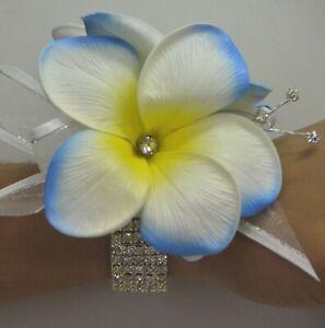 SILK WEDDING BOUQUET LATEX FRANGIPANI WRIST CORSAGE WHITE YELLOW BLUE FLOWERS