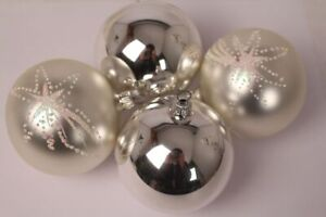 Boules de Noël Argent 4er Set Boules de Noël Brillant Mat Brillant Noël