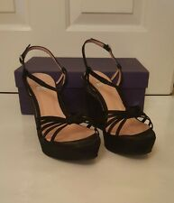 Sinela black suede wedges with plait detail. size 39