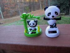Set of 2 New Solar Panda Bears- One Dancing ,One Swinging