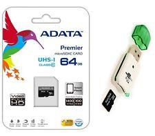 Adata 64GB Micro SD SDHC MicroSD Flash Memory with Adapter + USB Card Reader