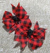 Set of 2 black & red plaid hair bows girl alligator clip pig tails