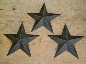 "Set of 3 5.5"" BLACK BARN STARS Metal Tin  Primitive Country 5 1/2"" Farmhouse"