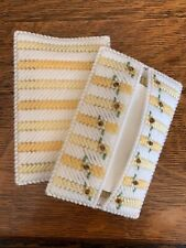 New ListingHandmade Needlepoint Plastic Canvas Pocket Tissue Cover - Yellow Floral