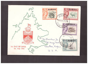 North Borneo overprint SABAH 1964 cd Jesselton  FDC Cover