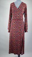 Oasis Black Maxi Midi Flowy Smock Dress Ditsy Floral Long Sleeve V Neck M UK 12