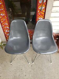 Herman Miller Side Chairs Eames Shell Elephant Grey Gray Fiberglass Zenith 50's