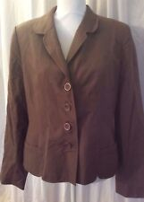 WOMENS Jacket Size12 Taupe Brown Lg Sleeve Lined 100% Silk Button Valerie Steve
