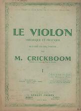 CAHIER D'ETUDE LE VIOLON M. CRICKBOOM