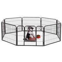 "New BestPet Black 24"" 8 Panel Heavy Duty Pet Playpen Dog Exercise Pen Cat Fence"